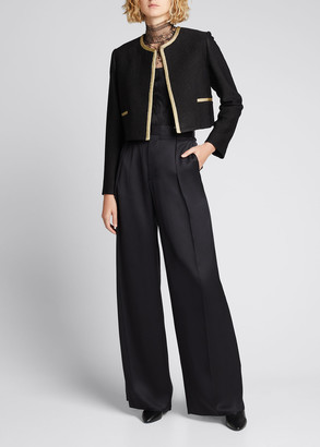 Adam Lippes Cropped Boucle Jacket w/ Contrast Trim