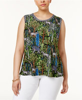 INC International Concepts Plus Size Printed Split-Back Tank, Only at Macy's