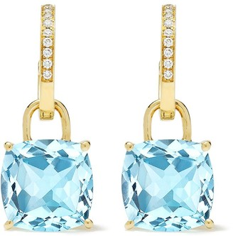 Kiki McDonough 18kt Yellow Gold Cushion Cut Blue Topaz And Diamond Detachable Hoop Earrings