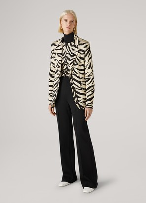 St. John Viscose Tiger Jacquard Turtleneck Sweater