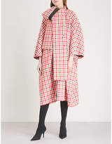 Balenciaga Cristobal checked wool-blend coat