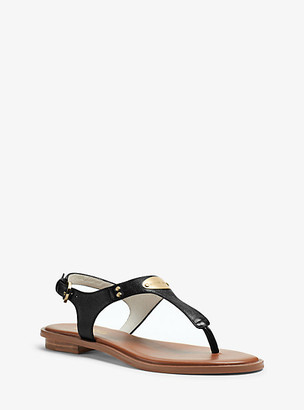 Michael Kors Logo Plate Saffiano Leather Sandal