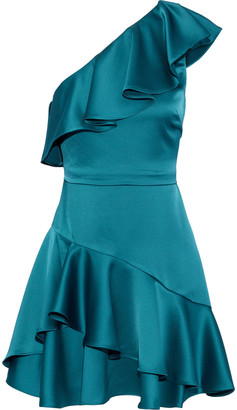 Halston One-shoulder Ruffled Satin Mini Dress