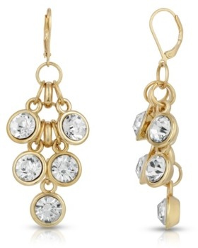 2028 Gold-Tone Crystal Cluster Drop Earrings