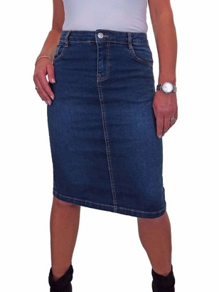 icecoolfashion Women's Denim Pencil Skirt Ladies Below Knee Length Jeans Skirt with Stretch Dark Wash Blue 10-20 (18)