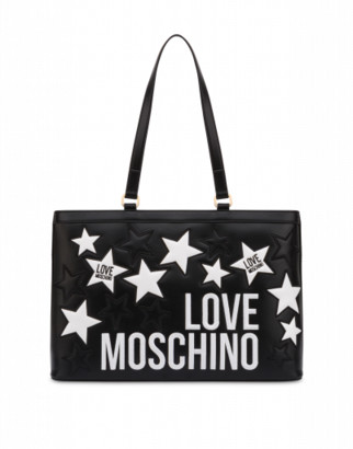 Love Moschino Shopper With Stars And Logo Woman Black Size Single Size