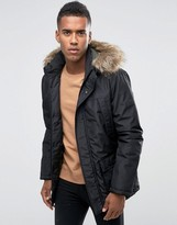 Jack and Jones Core Parka with Faux Fur Hood