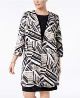 Kasper Plus Size Abstract-Print Ottoman Jacket
