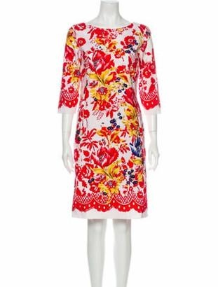 Oscar de la Renta Floral Print Knee-Length Dress