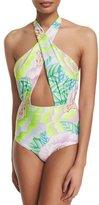 Mara Hoffman Floral-Print Crisscross Halter One-Piece Swimsuit