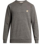 MAISON KITSUNÉ Fox-appliqué crew-neck cotton sweatshirt