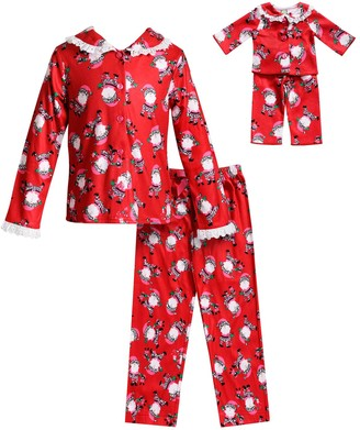 Dollie & Me Girls 4-14 Santa Claus Christmas Top & Bottoms Pajama Set & Doll Pajamas