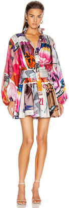 Zimmermann Wavelength Long Sleeve Mini Dress in Pink Poster Print | FWRD