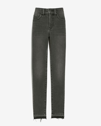 Express Mid Rise Supersoft Black Raw Released Hem Skinny Jeans