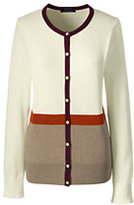 Classic Women's Tall Supima Colorblock Cardigan Sweater-Bavarian Creme Colorblock