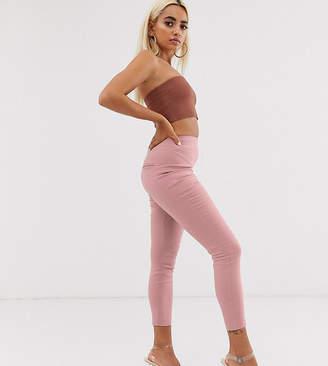 Asos DESIGN Petite high waist trousers in skinny fit in beige-Pink