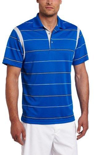 PGA TOUR Men's Short Sleeve Pieced Pigment Printed Stripe Golf Polo Shirt