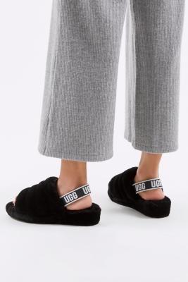 UGG Fluff Yeah Black Slide Sandals - Black UK 3 at Urban Outfitters
