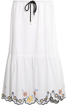 See by Chloe Scalloped Embroidered Cotton-poplin Midi Skirt - White