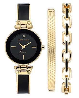 Anne Klein Women's Genuine Diamond Dial Gold-Tone and Black Watch with Bracelet Set