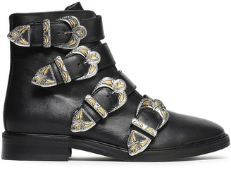 Maje Jackpot Buckled Leather Ankle Boots