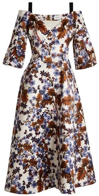 Erdem Karol Open Shoulder Duchess Satin Dress - Womens - Blue Print