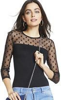 New York & Co. Polka-Dot Mesh Bodysuit - Black