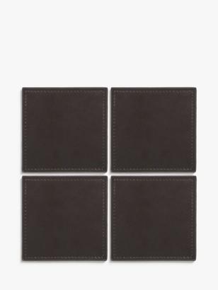 John Lewis & Partners Bonded Leather Coasters, Set of 4
