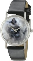 Whimsical Watches Kids' R0120039 Classic Himalayan Cat Black Leather And Silvertone Photo Watch