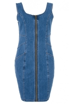 Quiz Blue Denim Zip Front Pinafore Bodycon Dress