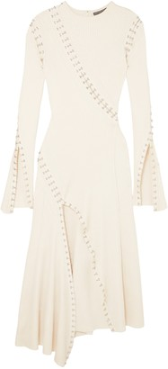 Alexander McQueen Embellished Cutout Ribbed-knit Midi Dress