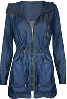 Hot From Hollywood Women's Casual Zip Front Military Anorack Drawstring Waist Jacket with Hood