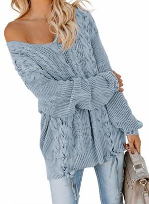 CORAFRITZ Elegant Cable Knit Jumper V Neck Winter Long Sleeve Loose Sweater Drop Shoulder Tops for Women Sky Blue