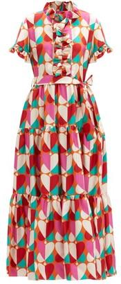 La DoubleJ Long And Sassy Farfalle-print Silk-twill Dress - Pink Print