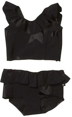 Nununu Ruffled Star Bikini (Infant/Toddler/Little Kids) (Black) Girl's Swimwear Sets