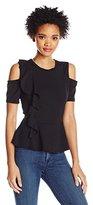 GUESS Women's Short Sleeve Jaime Ruffle Peplum Top