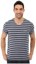 Calvin Klein Jeans Yarn Dye Stripe Short Sleeve V-Neck
