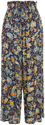 Tory Burch Shirred Printed Voile Wide-leg Pants