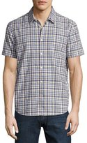 John Varvatos Plaid Short-Sleeve Woven Shirt, Red