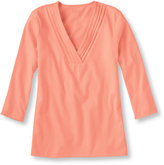 L.L. Bean Women's Pima Crossover Top, Three-Quarter-Sleeve V-Neck