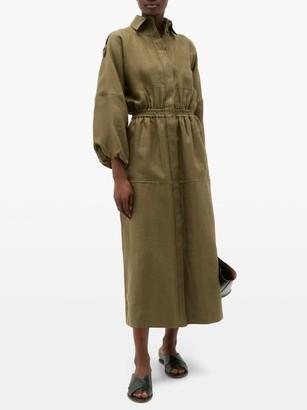 Gabriela Hearst Ares Balloon-sleeve Hemp Shirt Dress - Womens - Khaki