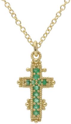 Judith Ripka Juliette 14K 0.11 Ct. Tw. Emerald Cross Necklace