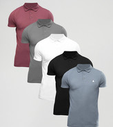 Asos 5 Pack Muscle Pique Polo Shirt With Logo Save