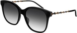 Gucci Square Acetate Bamboo Effect Arms Sunglasses