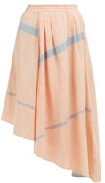 Apiece Apart Turkanna Striped Handkerchief Hem Cotton Skirt - Womens - Red
