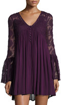 Romeo & Juliet Couture Bell-Sleeve Lace Dress, Purple
