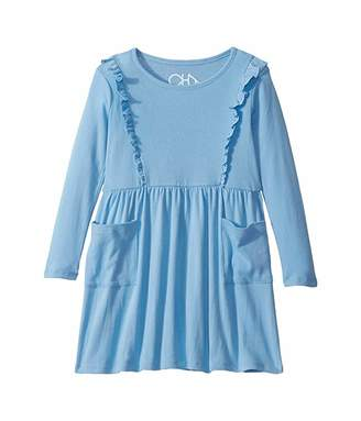 Chaser Baby Rib Long Sleeve Ruffle Dress w/ Pockets (Toddler/Little Kids)