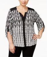 Calvin Klein Plus Size Printed Tab-Sleeve Top