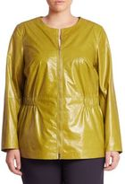Lafayette 148 New York, Plus Size Lucina Lacquered Leather Jacket