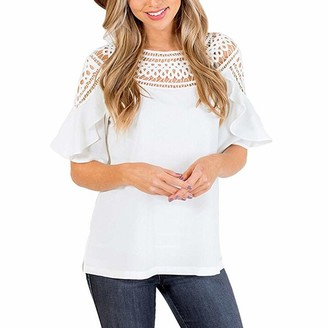 Henri Women's Hollow Bell Sleeve Tops Lady Shirt Top Shirt Blouse Crew Neck Lace Blouse Causal Tunic Tops T Shirt Women's Valueweight Vests White